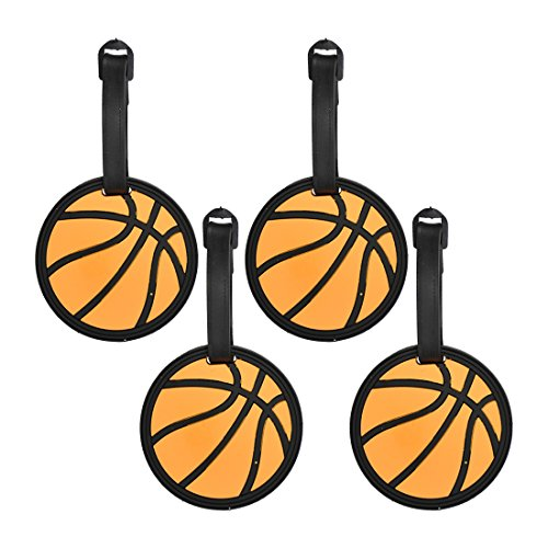 Tag Luggage Basketball - Basketball Sports Fan Luggage Tag Travel ID for Suitcases - Set of 4