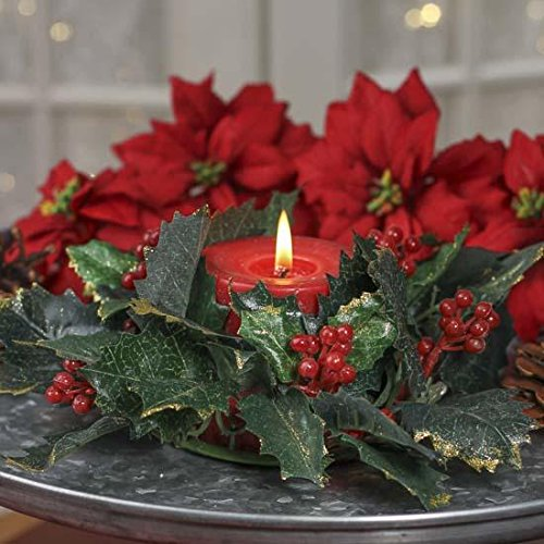 Pair of Gold Glitter Accented Artificial Holly Leaf Candle Rings for Holiday Home Decor and Decorating (Berry Small Candle)