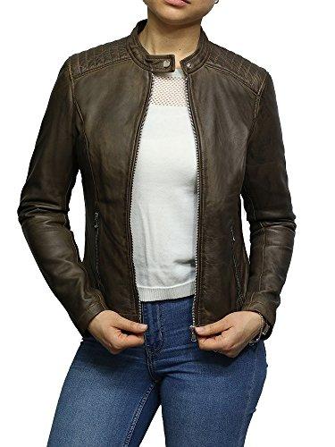 de encerado Brandslock mujer cuero biker Cuero superior de cordero para calidad Chaqueta de qzFFgwx0f