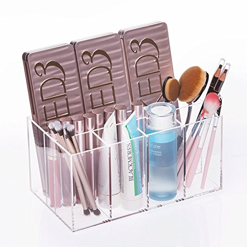 "Choice Fun Acrylic Makeup Organizer 8.9""L5.1""W Eyeshadow Pallet Qtip Holder Eyebrow Pencil Case 4.4"" Deep Vanity Tray 7 Compartments Transparent QFJJSN-CF-1129"