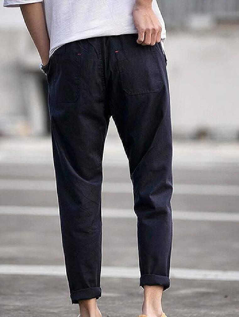 Pandapang Mens Casual Harem Sport Straight Elastic Waist Washed Pants