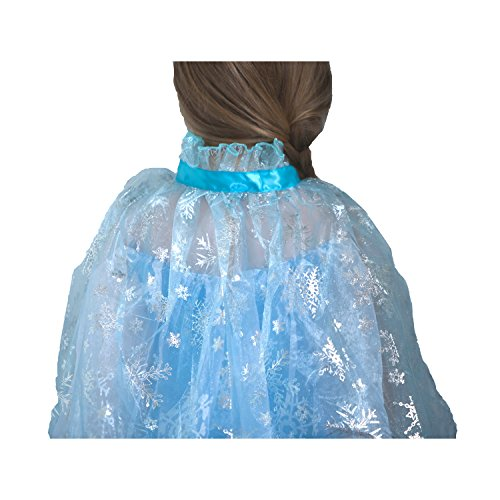 Frozen Inspired Ice Princess Shimmering Snowflake Cape with Let It Go Band