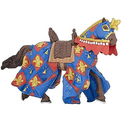 Multicolor Papo Blue Fleur De LYS Horse Figure