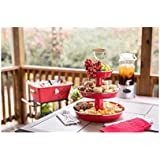 Enameled Galvanized 3 Tier Collapsible Server with Wood Handle & Food Safe Steel (Red)