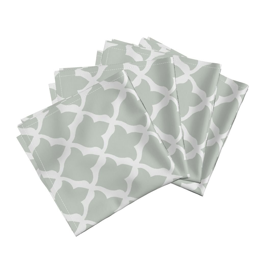 Roostery Avignon Sparrowsong Fleur De Lis Organic Sateen Dinner Napkins Fleur in Spa by Willowlanetextiles Set of 4 Dinner Napkins