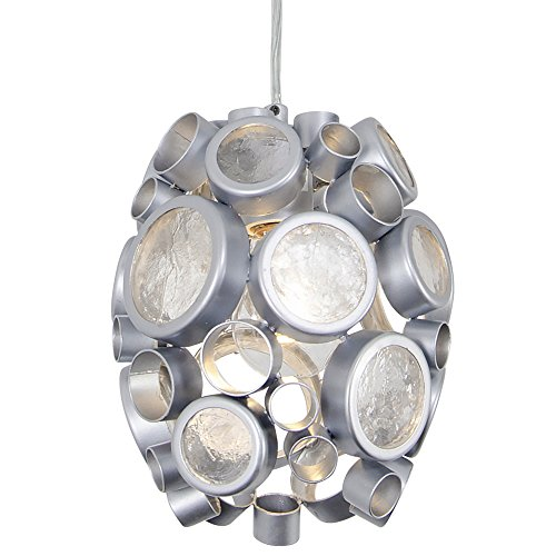 Fascination 1-Light Mini Pendant - Metallic Silver Finish with Recycled Clear Glass