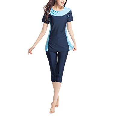 Zhhlaixing Two Pieces Short Sleeve Muslim Swimsuit Women Modest