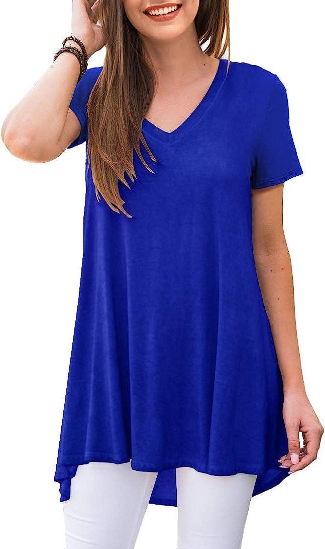 AWULIFFAN Womens Summer Casual Short Sleeve V-Neck T-Shirt Tunic Tops Blouse Shirts