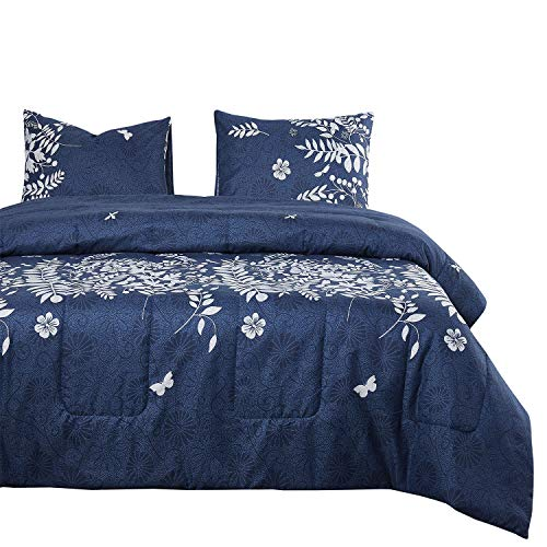 Wake In Cloud - Navy Blue Quilt Set, Gray Grey Floral Flowers Tree Leaves Modern Pattern Printed, Soft Microfiber Bedspread Coverlet Bedding (3pcs, Queen Size) ()