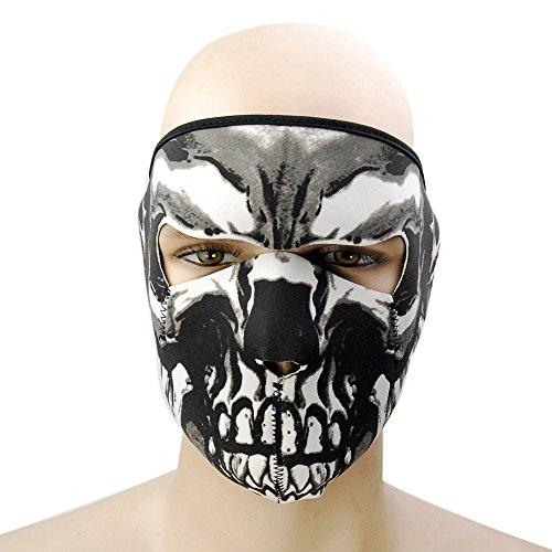 Face Motorcycle Mask Graphic (elegantstunning Graphic Style Skull Assassin Black Neoprene Adjustable 2 in 1 Reversible Full Face Mask Motorcycle Snowboard Ski)