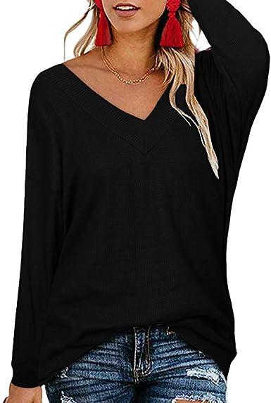 Camisas Mujer con Cuello en V de Manga Larga Casual para Mujer Blusa de Parte Superior sólida Verano Sencillos Blusa Suelto Sin Espalda Camisas de Moda Casual Elegante LiNaoNa: Amazon.es: Ropa y