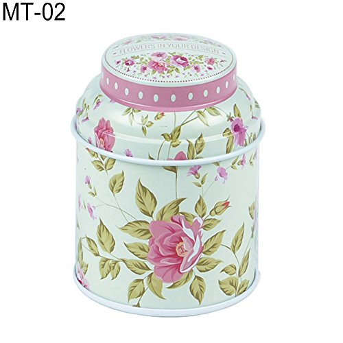 dezirZJjx Tea Container, Premium Tinplate Caddy Box Vintage Flowers Cylinder Round Tea Tins for Home Kitchen Storage Containers Colorful Tins- MT-03 by dezirZJjx (Image #5)