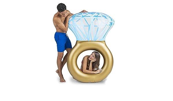 CHRRI Anillo De Diamante Inflable Gigante Flotador De Piscina Inflable Anillo De Natación Piscina Flotante Piscina De Diamante Adulto Swim Flotador: ...