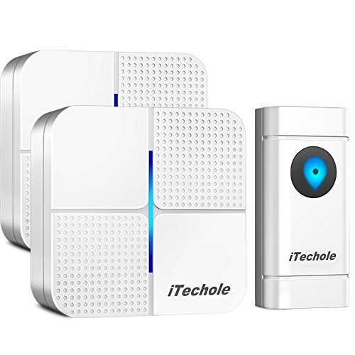 Door Bell, iTechole IP55 Waterproof Wireless...