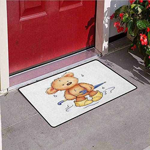 Gloria Johnson Bear Inlet Outdoor Door mat Teddy Bear Caught up in Rain with Rubber Boots Holding an Umbrella Cartoon Catch dust Snow and mud W29.5 x L39.4 Inch Sand Brown Yellow Blue ()