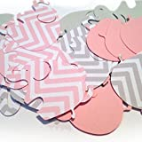 "Custom & Fancy {1.5 x 2"" Inch} 50 Pieces of ""Table"" Party Confetti Made of Premium Card Stock w/ Cute Girls Chevron & Plain Modern Baby Animal Elephant Shape Cutout Scatter Design [Pink & Gray]"