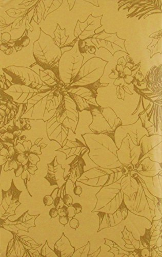 Sketches of Poinsettias, Holly and Pine Cones Vinyl Flannel Back Tablecloth (Gold, 52