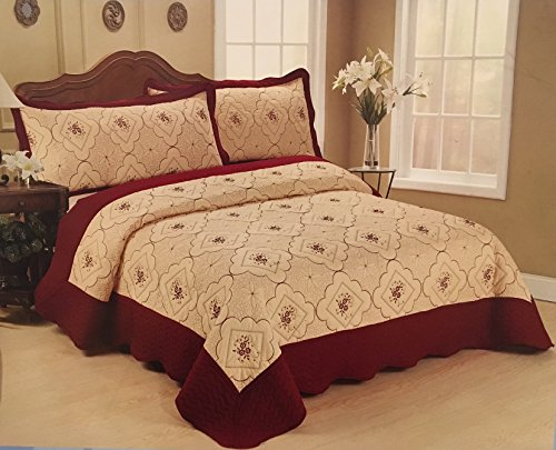 Big 7 Home Burgundy Floral Wmilk White Embroidery King Size 100