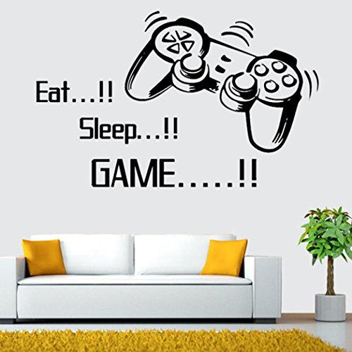 Neartime Eat Sleep Game Wall Stickers Boys Bedroom Letter DIY Kids Rooms Decoration Art (53cm by 86cm, Black) (Scroll Ceiling Tile)