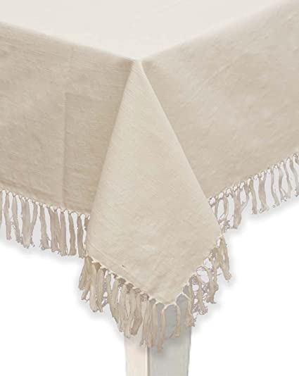Mahogany U0026quot;Abbyu0026quot; 100 Percent Cotton Fringed Tablecloth, 60 Inch By