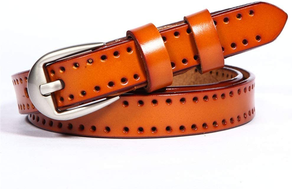 TnSok Mujeres Cinturones Finos creativos calados Cinturones Pantalones Anchos Cinturones de Hebilla de Cuero Resistente a los arañazos Damas Cinturón con Hebilla de la aleación para Jea