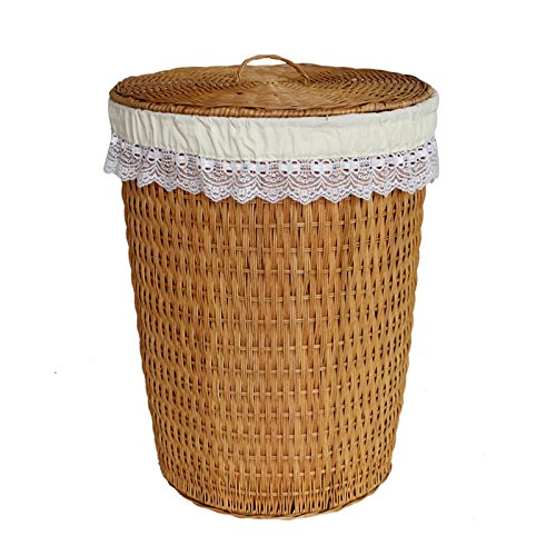 YZL/ Dirty clothes storage baskets//laundry basket/storage basket with lid basket/hamper/rattan bamboo storage basket , yellow by KAIMENDAJI