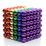 MagneBalls 5MM Magnetic Ball Set Perfect for Jewlery, Crafts, Education and Intelligence Development- Desk Sculpture Toy Provides Relief for Office Stress, ADHD, Autism, and Anxiety (Rainbow)