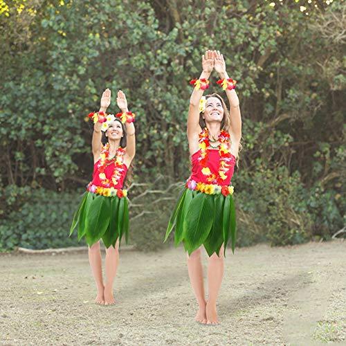 DomeStar Leaf Hula Skirt, Hawaiian Leaf Skirt Green Grass Leaf Skirt for Hula Costume and Beach Party
