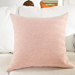 """Home Brilliant Lined Linen Cushion Cover Square Throw Pillow Case for Sofa/Bench/Couch, Baby Pink, 18""""x18"""""""