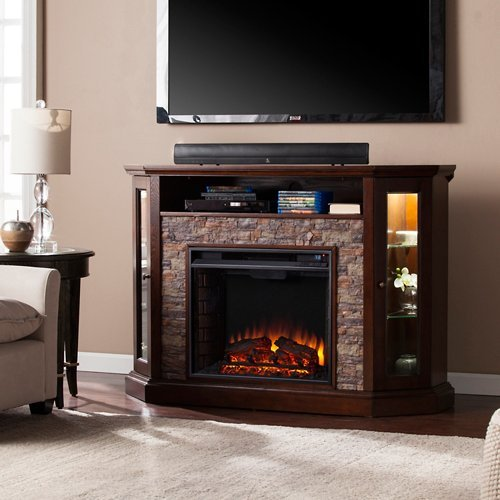 (Southern Enterprises Redden Corner Electric Fireplace TV Stand)