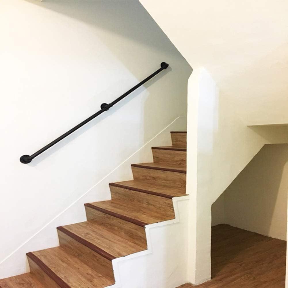 M/étal Noir Fer forg/&eac Main courante 30-300cm S/écurit/é Main Courante pour escalier Int/érieur ext/érieur Kit de Support de Rampe descalier Garde-Corps de Rampe Escaliers Poign/ée Rambarde de s/écurit/é