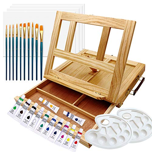 ART QIDOO Art Table Easel for Painting and Drawing, Adjustable Wood Easel Stand with Canvas, Acrylic Paint, Brushes and…