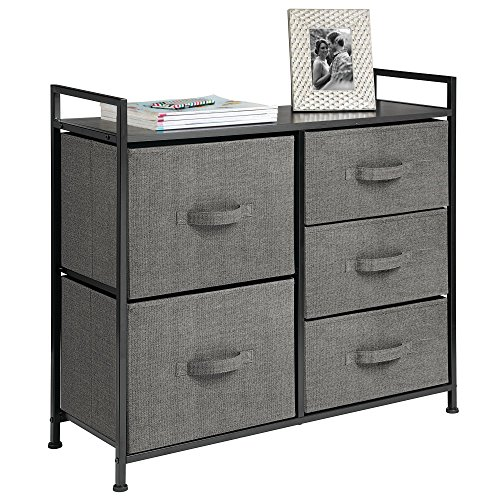 mDesign Wide Dresser Storage Tower - Sturdy Steel Frame, Wood Top, Easy Pull Fabric Bins - Organizer Unit for Bedroom, Hallway, Entryway, Closets - Textured Print - 5 Drawers, Charcoal Gray/Black