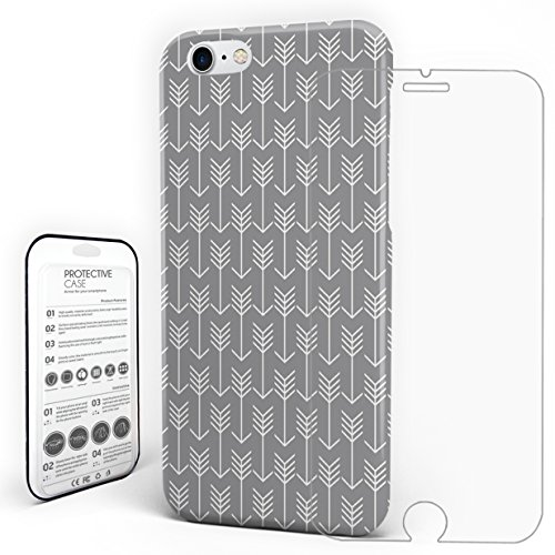 Phone Case Protectivedesign Hard Back Case Grey Arrows Geometric Compatible Slim Case with a Glass Screen Protector for iPhone 7/iPhone 8