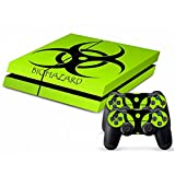 MODFREAKZ Console and Controller Vinyl Skin Set – Green Biohazard Label for Playstation 4 For Sale
