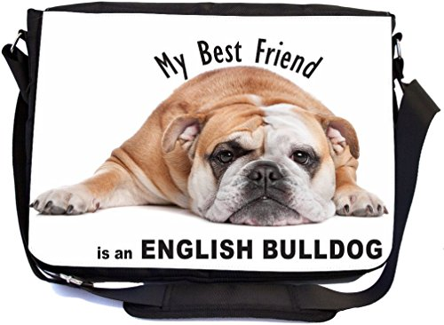 Rikki Knight My Best Friend is a Brown English Bulldog Bull Dog Design Premium Messenger Bag - School Bag - Laptop Bag - with padded insert for School or Work - With Matching Pencil Case Best Friend Bulldog