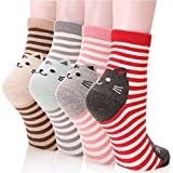 DearMy Womens Cute Design Casual Cotton Crew Socks for Gift Idea One Size Fits All (Smiles Cat 4 Pairs)