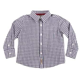 Richie House Little Boys' Blue Gingham Shirt RH0199-12M