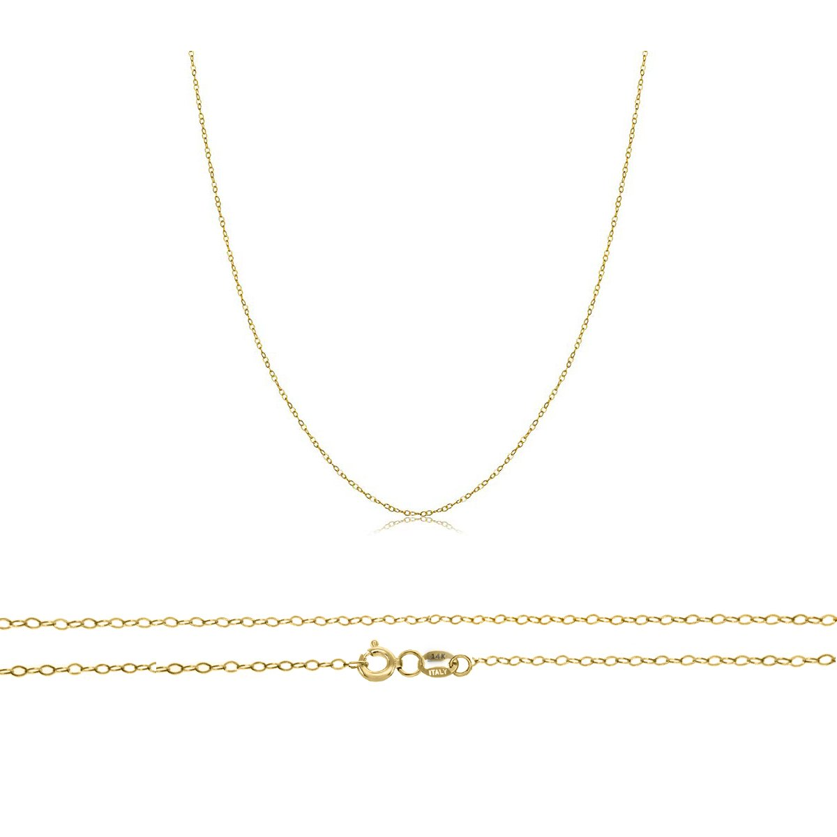 Orostar 14K Solid Yellow Gold 0.9mm Cable Chain, Perfect For Pendants - 16''-20'' (18)