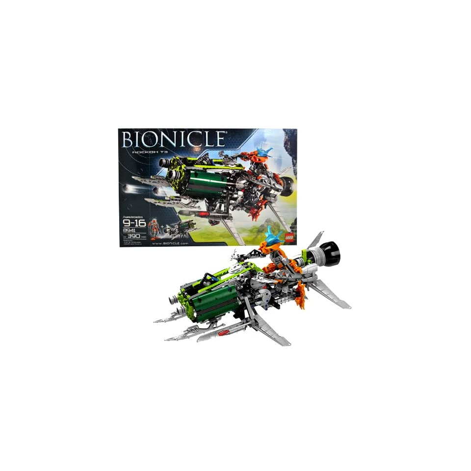 Lego Year 2008 Bionicle Series Action Figure Vehicle Set #8941   ROCKOH T3 with Exclusive Pohatu Nova Figure (7 Inch Tall) and Blaster (Total Pieces 390)