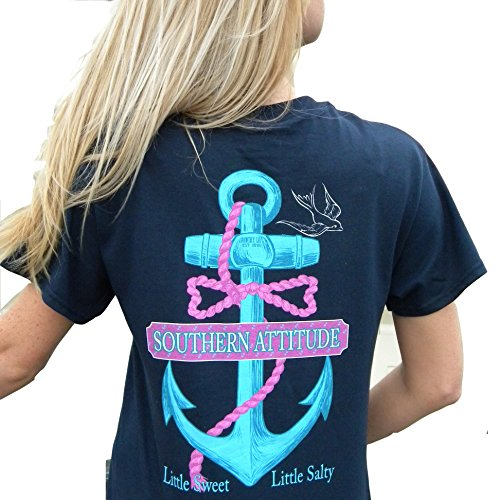 Southern Attitude Women's Salty Navy Anchor Bow Tie Preppy Little Sweet Little Salty Short Sleeve T Shirt (Medium) - Womens Southern Clothing