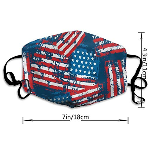 CIGOCI Anti-Allergens Adjustable Elastic Band Mouth Mask for Boys Girls Adults, USA American Flag Patriotic Warm Respirator for Dust, Medical, Cycling - Washable