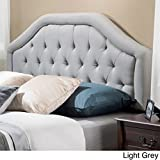 Angelica Button Diamond Tufted Upholstered Suede Iron Frame Adjustable Full/Queen-size Wingback Bed Headboard with Black Legs - Light Grey