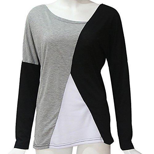 pour Manches et Couleur de col Femmes dcontracts Unie Shirt T Noir Vtements Veste de Sport Longues AMUSTER Rond HqZ4wRHE