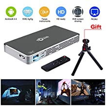 Pico Projector Portable Mini Pocket Projector Movie LED DLP HD 1080P for Iphone Android Phone Support Wifi/HDMI/Bluetooth/USB/TF Card/Audio Cable /TV Box Micro-projector Home Theath(Gray)