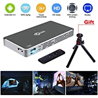 LED LCD Video Projector Mini Pico Video Projector for Iphone and Andriod Phone Video Home Theater Projector Support Full HD 1080P Flash/USB/HDMI/Bluetooth/Remote Control for Home Outdoor (Gray)