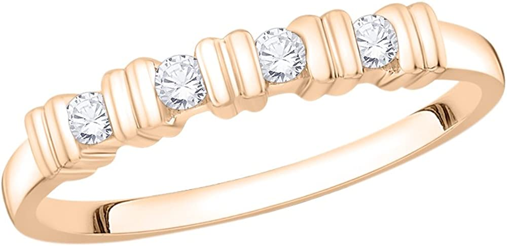 1//8 cttw, Diamond Wedding Band in 10K Pink Gold G-H,I2-I3 Size-3.75