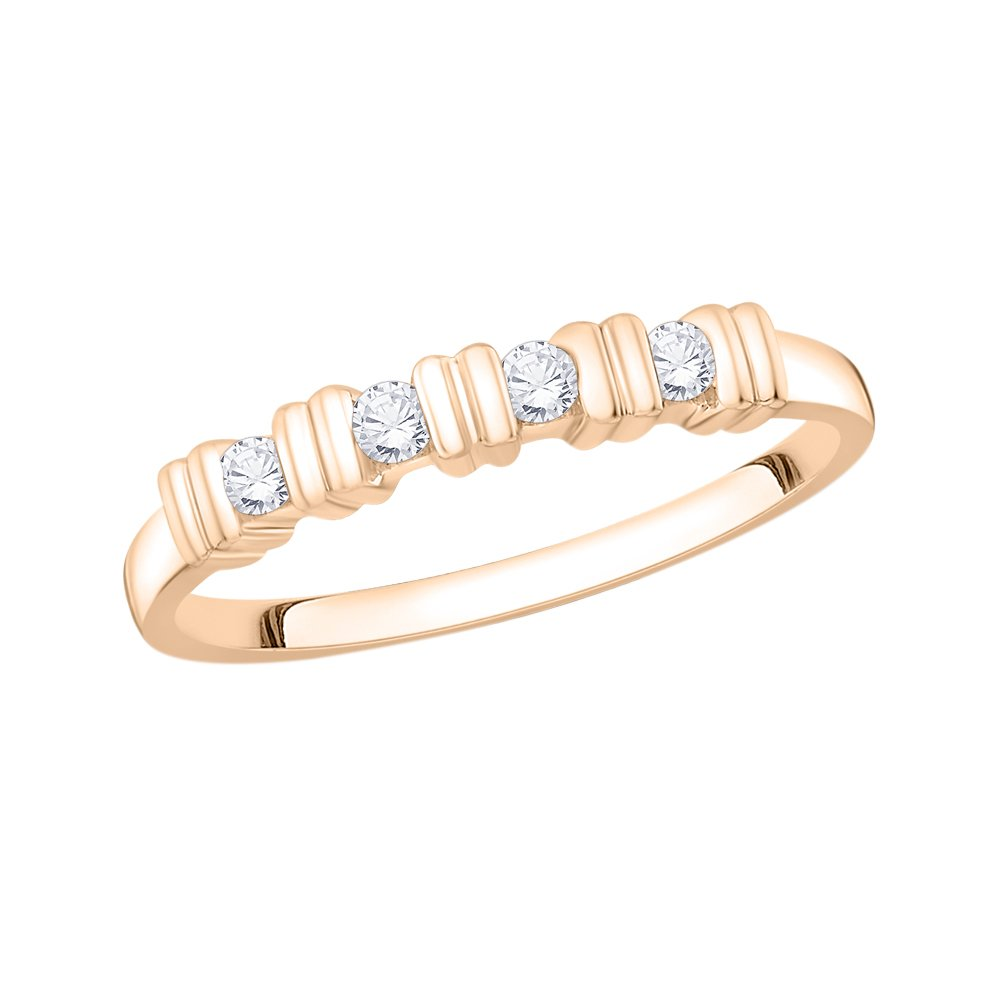 G-H,I2-I3 1//8 cttw, Size-5.25 Diamond Wedding Band in 10K Pink Gold