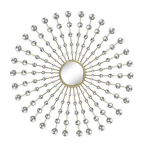 Adeco Decorative Metal Wall Decor with Sunburst Mirror - 28.5x28.5 -