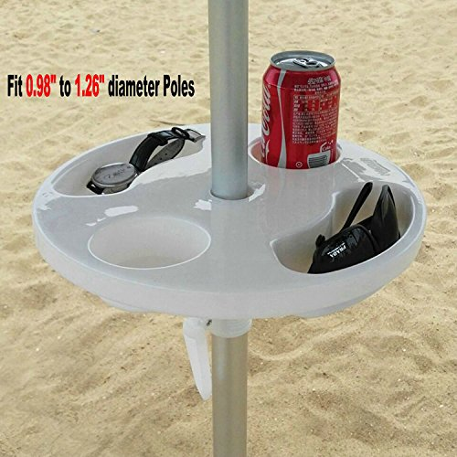 AMMSUN New 12 Inch Round Plastic Beach Umbrella Table with Cup Holders, White